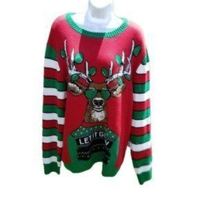 Ugly Christmas Sweater Let It Glow Reindeer L